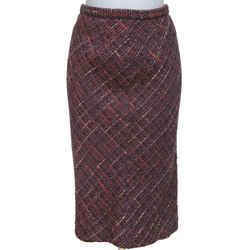 DOLCE & GABBANA Tweed Skirt Knee Length Multicolor Leopard Print Sz 42