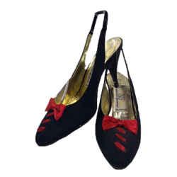 VALENTINO Garavani Circa 1990s Miss V Black Silk, Red Bow Size 6