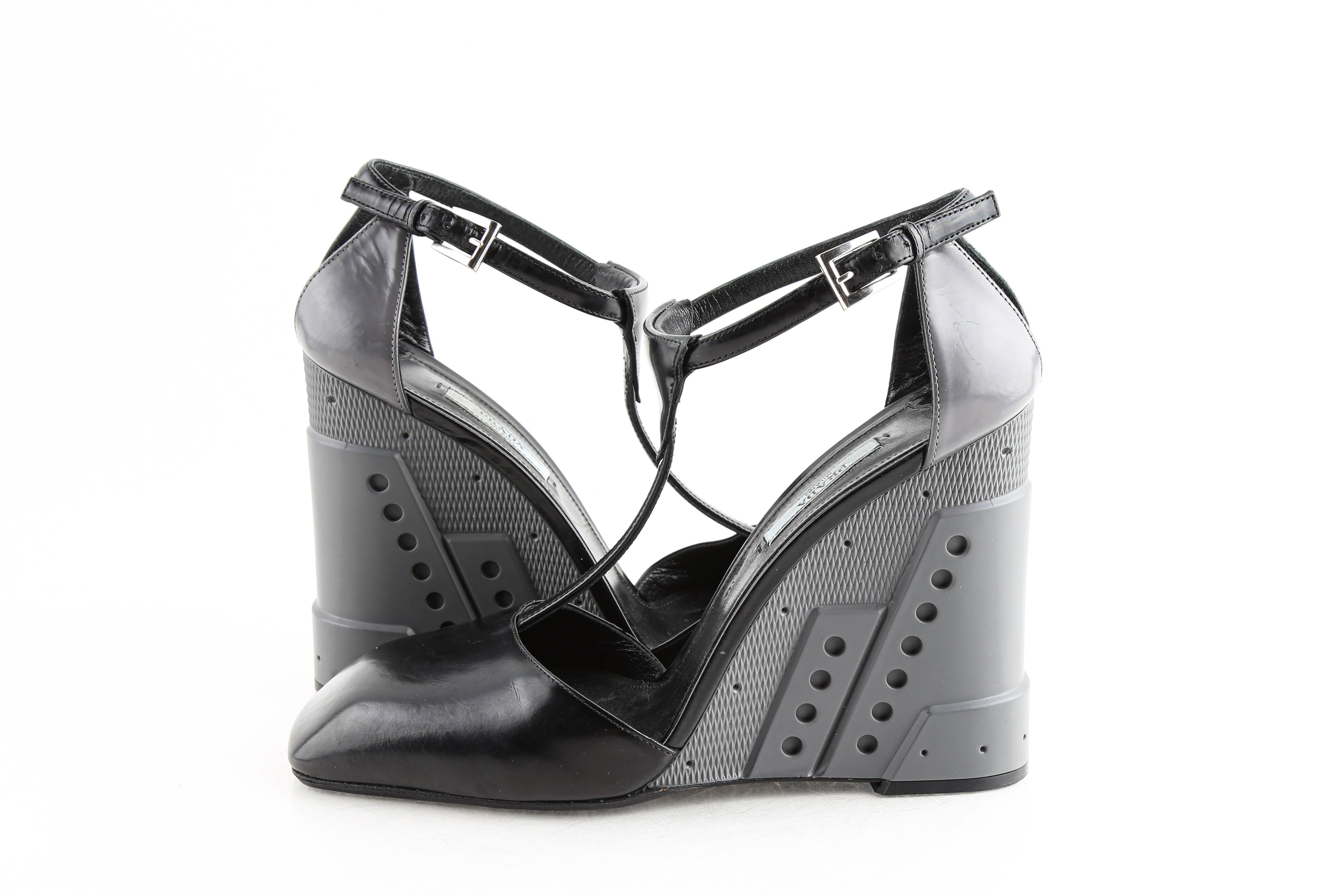 Prada Black/grey Leather Futuristic