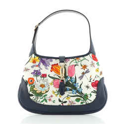 Jackie Hobo Flora Canvas with Leather Medium