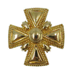 St John Knits Pin Brooch Vintage 22k Gold Electroplated Cross Signed Logo