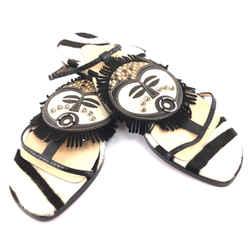 Christian Louboutin White Black Python Kimpa Maskcuff T-strap Flats