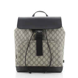 Buckle Backpack GG Coated Canvas with Leather Medium
