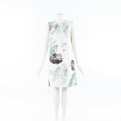 Carolina Herrera 2019 Leaf Print Cotton Shift Dress SZ 8