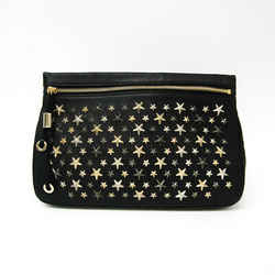 Jimmy Choo ZENA Women's Leather Clutch Bag Black BF535197