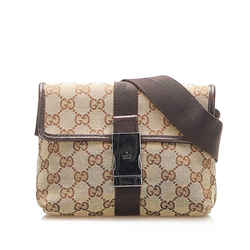 Vintage Authentic Gucci Brown Beige Canvas Fabric GG Belt Bag Italy