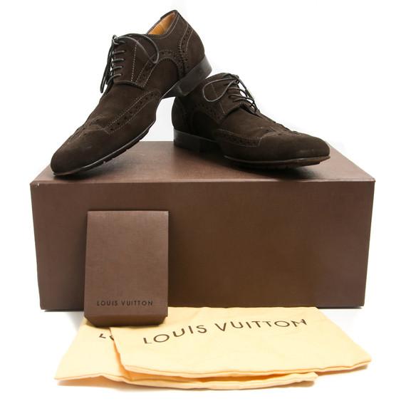 Louis Vuitton Brown Suede Quatrefoil Stitched Shoes