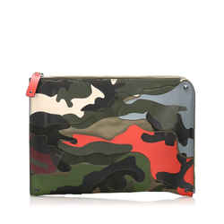 Vintage Authentic Valentino Brown Calf Leather Camouflage Clutch Bag Italy