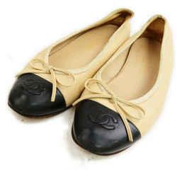 Chanel Size 36 Beige x Black CC Logo Cap Toe Ballerina Flats 862969