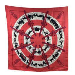 Hermes Vintage Silk Paris Qui Roules 1951 Hugo Grygkar Red