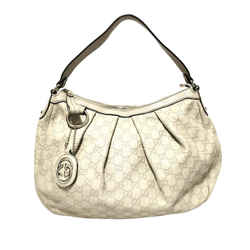 Vintage Authentic Gucci White Calf Leather Guccissima Sukey Shoulder Bag Italy