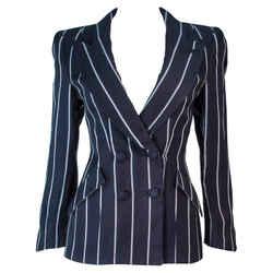 GIORGIO ARMANI Navy Striped Tailored Jacket Size 38