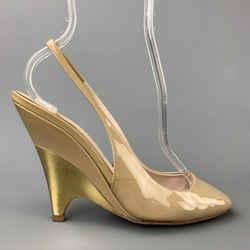 MIU MIU Size 5.5 Beige & Gold Patent Leather Pumps