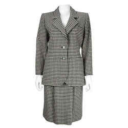 YVES SAINT LAURENT 1980s Rive Gauche Houndstooth Skirt Suit