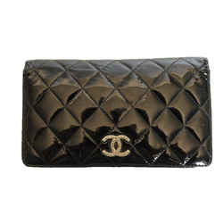 Chanel Black Patent Quilted Leather 2011 Wallet