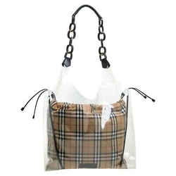 Burberry Transparent/Beige Plastic And Leather Shopper Bag
