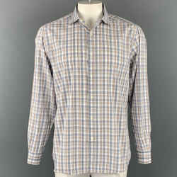 ERMENEGILDO ZEGNA Size XL Blue & White Plaid Cotton Long Sleeve Shirt