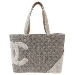 Auth Chanel Cambon Tweed Tote Bag Gray X White 9s Leather