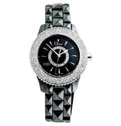 Dior VIII Black Dial Black Ceramic Diamond Studded Ladies Watch
