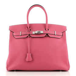 Birkin Handbag Rose Tyrien Epsom with Palladium Hardware 35