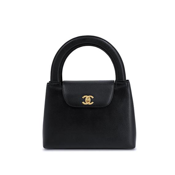 Chanel Vintage Caviar Mini Kelly Evening Bag Black 24k GHW