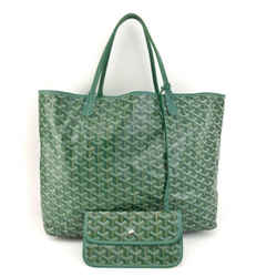 "GOYARD ""St Louis PM"": Green ""Goyardine"" & Leather Logo Shoulder/Tote Bag (mn)"