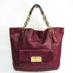 Coach Christine 14214 Women's Leather Tote Bag Dark Purple,Wine BF520627