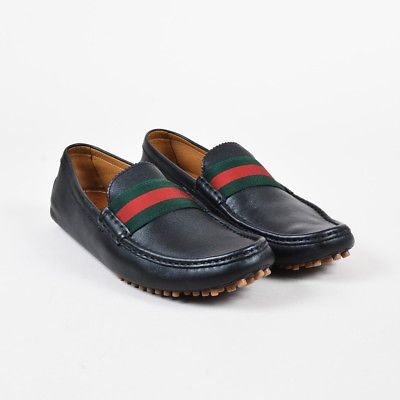 Leather Web Stripe Driving Loafers SZ