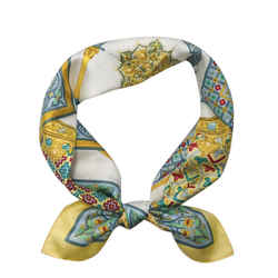 Hermes 100% Silk Scarf 35 Inch Square Ciels Byzantins In Light Yellow Wrap