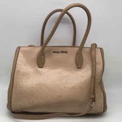 Miu Miu Tan Distressed Shoulder Bag