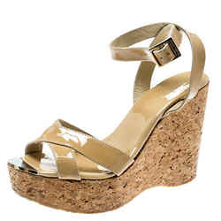 Jimmy Choo Beige Patent Leather Papyrus Cork Wedge Ankle Strap Sandals Size 38