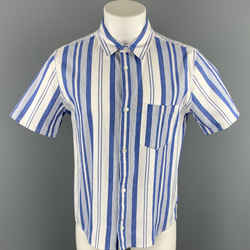 A.p.c. Size Xl Blue & White Stripe Button Up Short Sleeve Shirt