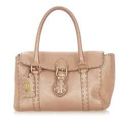 Vintage Authentic Fendi Pink Calf Leather Selleria Linda Handbag Italy