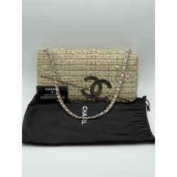 Chanel CC Coco Logo Tweed Single Flap Timeless Chain Shoulder Bag 9L x 5H