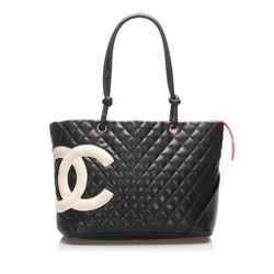 Vintage Authentic Chanel Black Large Cambon Ligne Horizontal Tote Bag France