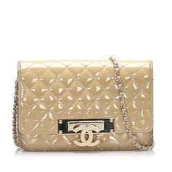 Brown Chanel CC Timeless Patent Leather Wallet on Chain