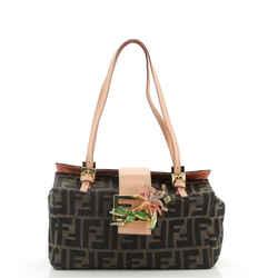 Vintage Shoulder Bag Embellished Zucca Canvas with Leather