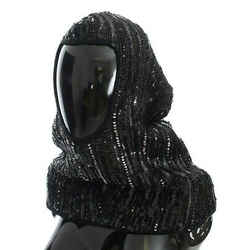 Dolce & Gabbana Black Knitted Sequin Hood Scarf Women's Hat