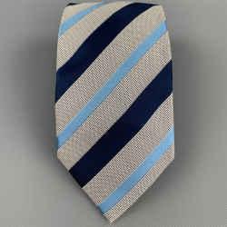 ERMENEGILDO ZEGNA Navy & White Diagonal Stripe Silk / Cotton Tie