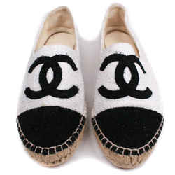 Chanel - Metallic Tweed Espadrilles Cc Logo - Black White Cap Toe - Us 7.5 - 38