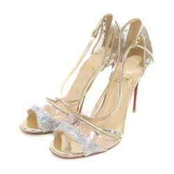 Christian Louboutin Size 35.5 Clear Sparkle Open Toe T-Strap Heel Sandal Pumps 863218
