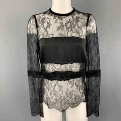 Emanuel Ungaro Size 2 Black Lace Satin Stripe Panel Blouse
