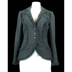 CHANEL 06C Black Fringed Boucle Tweed Blazer