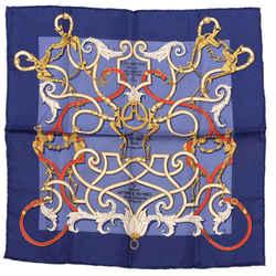 HERMES Instruction du Roy Blue Vintage Silk Scarf Behind the Scenes Collection