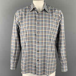 ERMENEGILDO ZEGNA Size XL Blue & Taupe Plaid Cotton Button Down Long Sleeve Shirt