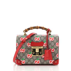 Padlock Bamboo Top Handle Shoulder Bag Printed GG Coated Canvas and Leather Small