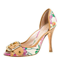 Casadei Beige/Multicolor Leather and Printed Fabric Buckle Detail Pumps Size 37