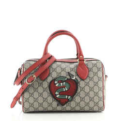 Convertible Boston Bag Embroidered GG Coated Canvas Small