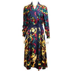 Le Mors a la Conetable Vintage Hermes Silk Dress Navy Sz 38