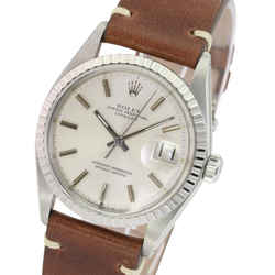 Rolex Mens Datejust Stainless Steel 36mm Silver Dial Engine Turned Bezel Brown Leather Band Watch